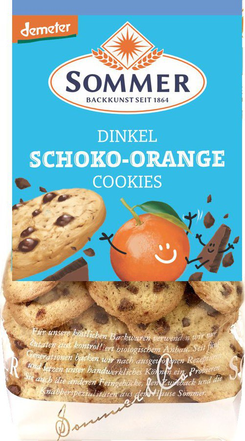 Bio Dinkelcookies Schoko Orange DEMETER 150g