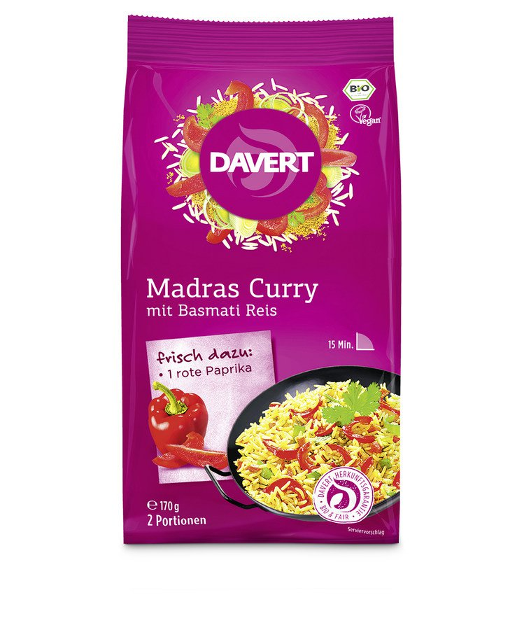 Bio Madras Curry mit Basmati Reis 170g